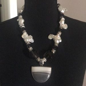 Freshwater Pearl, Smoky Topaz & Flint Necklace